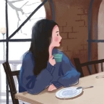 喝苦咖啡漫画女生头像图片