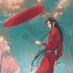 伤感中国风红衣拿伞男生头像
