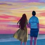 旅行二人世界背影头像图片 一起看落日夕阳