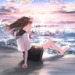 坐在海边背影女生头像图片 坐听大海的声音