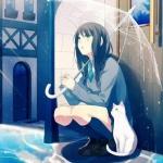 雨天打伞的心事女生头像图片