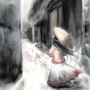 女生打伞水墨画背影头像图片