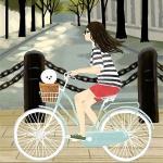骑单车女孩头像图片 骑着单车去旅行