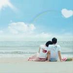 海边一起看彩虹情侣背影头像图片