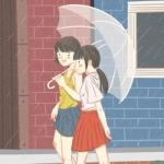 闺蜜漫画打伞逛街头像图片