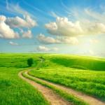 蓝天白云绿草地风景头像图片