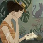 安静学习阅读复古女生头像图片