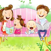 一家四口卡通图片头像