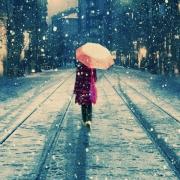 雪中打伞背影头像图片
