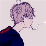 二次元高冷男生头吸烟头像图片