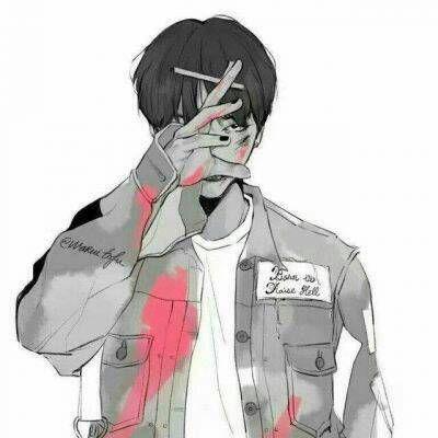 动漫头像男生抽烟图片