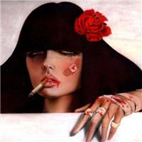 二次元抽烟女生头像
