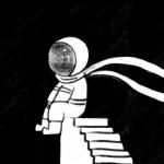 孤独的宇航员头像 高清黑白的宇航员头像漫画图片