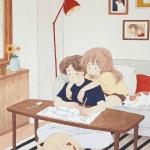 手绘情侣日常生活插画头像 超高清恩爱的情侣温馨日常生活插画