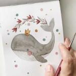 鲸鱼微信头像手绘 好看的高清手绘鲸鱼头像图片