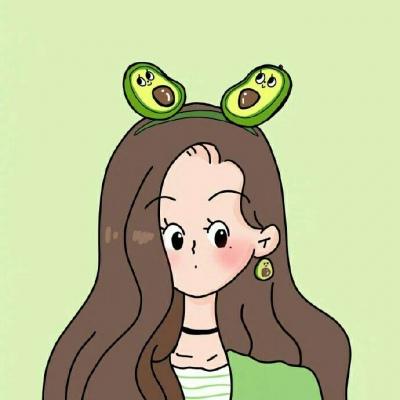 清新绿色动漫女生头像