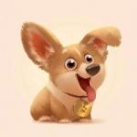 高清开心幸福可爱的小狗插画图片头像