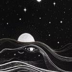 高清抽象创意十足的星空黑白头像图片