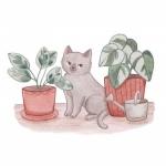高清手绘的清新动漫猫咪头像图片
