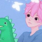 一男一女红发动漫情头图片,吹泡泡玩小恐龙