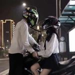 机车头盔情侣头像,高清带头盔的双人机车男女情侣头像图片