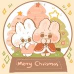 可爱超萌圣诞节兔子头像图片