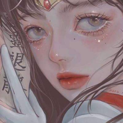 文艺精致手绘头像女