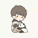 一男一女抱熊猫可爱卡通情头图片