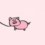 小女孩拽着一只猪情头 可爱一条绳子牵着猪的情侣头像图片