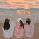 超火三人闺蜜头像背影 高清好看的闺蜜头像三人背影图片
