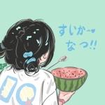 夏日专属情头卡通 高清萌萌的一男一女夏天清凉情侣q版头像图片