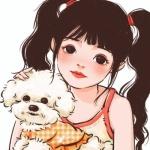 手绘头像女抱动物,高清好看的微信头像女手绘带宠物图片
