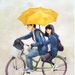 单车上打伞情侣头像图片 单车上我们的青春回忆
