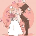 小清新婚礼现场漫画头像图片