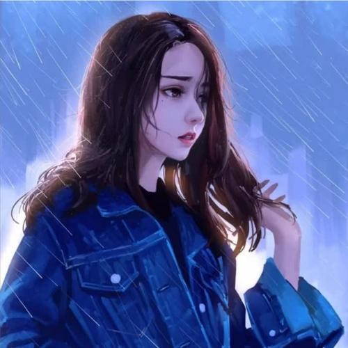流行伤感雨中女生头像图片