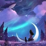 夜晚观看星空背影头像图片