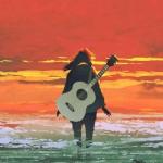 吉他女生背影励志头像图片 成长是一场冒险在孤独中前行