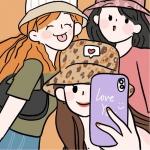 漫画三姐妹旅行自拍头像图片