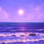 梦幻落日海浪风景头像图片