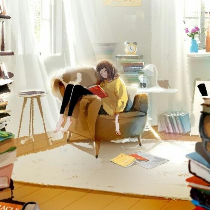 窝在沙发看书头像图片