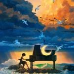 安静弹钢琴女生头像图片