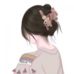 超可爱女生背影手绘卡通头像 漂亮唯美手绘女头图片